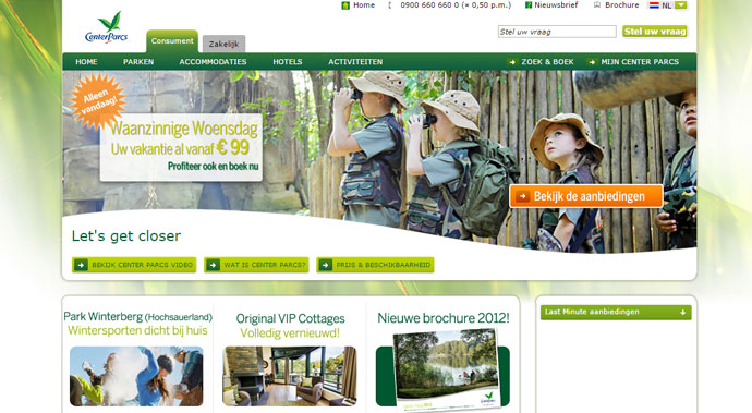 oude website center parcs