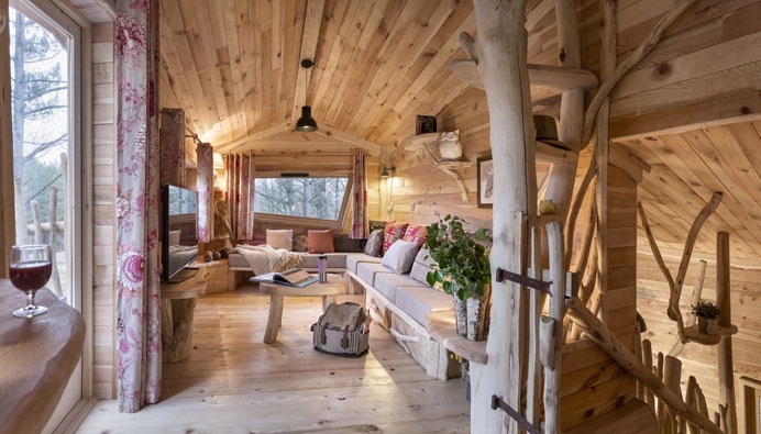 interieur van center parcs boomhut cottage