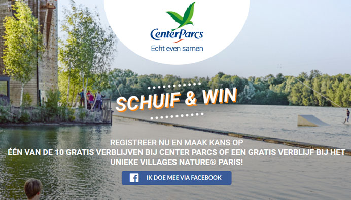 Schuif & Win een verblijf in Center Parcs of Villages Nature